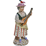 A Wonderful Antique Dresden Porcelain Figurine Lady Playing Lute