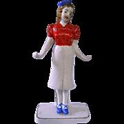 50s Ceramic Red Letter Japan Ring Holder Stewardess Hostess