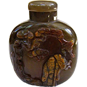 A Large Well Carved Agate Chinese Snuff Bottle