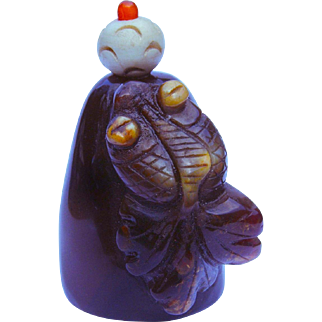 An Old Agate Chinese Snuff Bottle Bug Eyed Goldfish