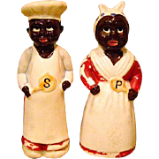 Large Black Americana Salt and Pepper Shakers 1940s
