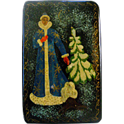 An Old Russian Lacquer Box - Young Grandfather Frost