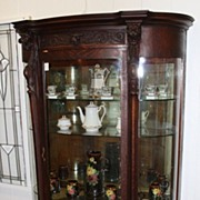 Lion's Head Curved Oak China Cabinet