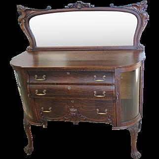 Fancy Ornate Oak Sideboard