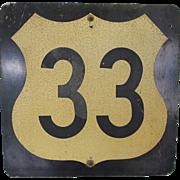U.S. 33 Road Sign -1930's