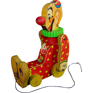 Fisher Price Squeaky The Clown Working Pull Toy 1958 Vintage collect toys Fisher price