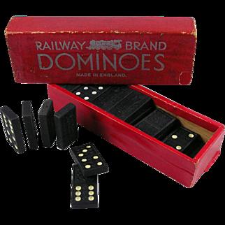 Railway Brand Vintage Dominoes Made in England Train Railroad Memorabilia