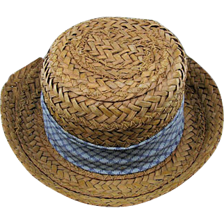 Salesman Sample Straw Hat For Vintage Boy/Man Doll