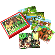 Wooden Puzzle Block Cubes and Storage Case Six Farm Animal Lithographs West Germany
