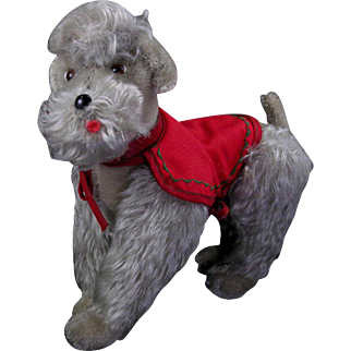 "Steiff Snooby 8-1/2"" Jointed Poodle with Collar and Coat"
