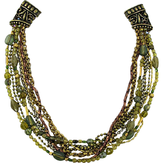 Elaborate 8-Strand Glass Bead Necklace
