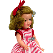 """Shirley Temple 1950's Doll with Script Pin and Striped Dress 12"""""""