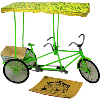 Sunshine Family Surrey 1974 Tandem Bicycle with Canopy and Basket