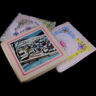 Boxed Set 6 Ladies Handkerchiefs Unused Original Box