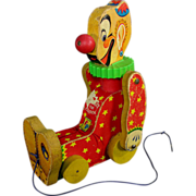 Fisher Price Squeaky The Clown Working Pull Toy 1958