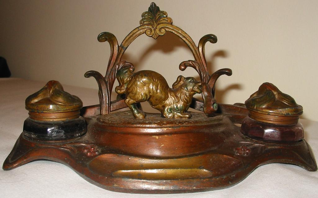 Art Nouveau Signed Inkwell with Dog