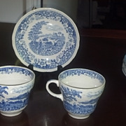 Swinerton's blue and white cups and saucers