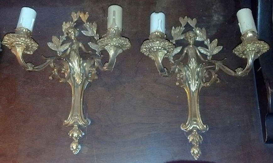 Wall Lights Sconces Brass with Cherubs