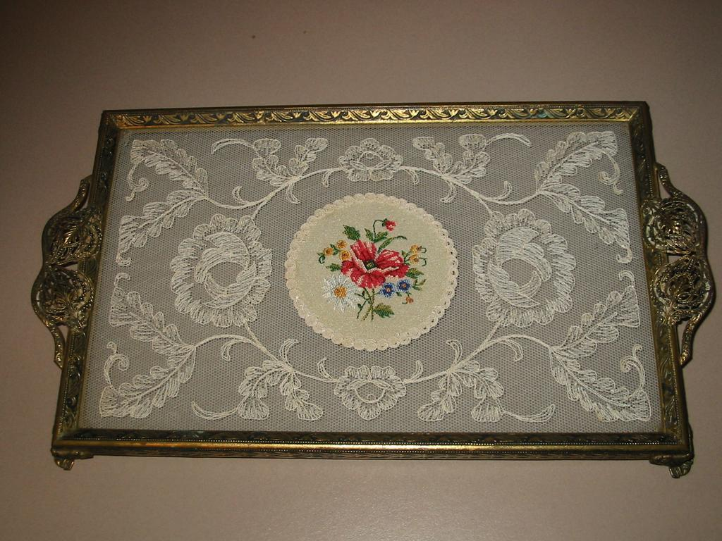 Antique vanity tray with lace insert - English Embroidered Glass And Filigree Vanity Tray Vintage