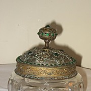 Vanity Jar Glass Filigree Metal & Green Stones