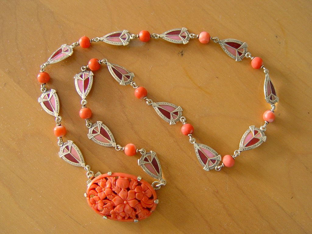 Art Deco 14K Enamel Necklace Carved Coral Floral Pendant