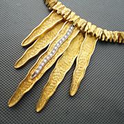 1970s' MAPAMENOS Diamond 18K Yellow Gold Modern Abstract Style Necklace