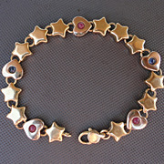 Vintage Solid 18K Yellow Gold Heart and Star Ruby Sapphire Bracelet