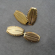 Vintage Men's Cufflink 18K Solid Gold Nice Guilloche Work 10 grams