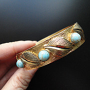 Vintage Gold Tone Whiting Davis Faux Turquoise Stone Leaves Hinged Bracelet
