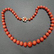 Vintage Orange Red Mediterranean Large Beaded Necklace 14K Flower Clasp