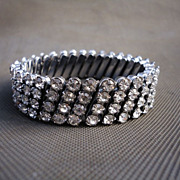 Vintage 4 Row Rhinestone Watch Band Stretch Bracelet
