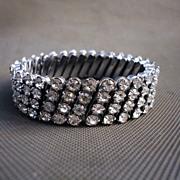 Vintage 4 Row Rhinestone Watch Band Stretch Bracelet