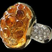 Bibigi 18K Citrine Diamond Fancy Bubble Designer Ring 1/4 TW