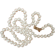 """Vintage 14K MIKIMOTO 7.0 - 6.5 mm Cultured Pearl Necklace 24"""""""
