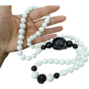 Stunning Black and White Onyx Wise Man Chinese Carved Bead Necklace 32""
