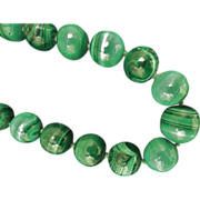 Outstanding Vintage Malachite Graduated Beads Necklace 30""