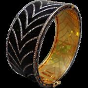 Amazing Art Deco Flair Chocolate Diamonds Black Enamel  Bangle Bracelet 14K