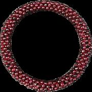Vintage Woven Genuine Garnet Beads Bracelet