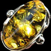 Stunning Vintage Polish Sterling Silver Large Green Amber Ring Size 6.5