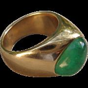 C1970s 14K Yellow Gold Emerald Modernistic Custom Asymmetric Design Ring 15.5 Grams