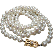 """Mikimoto 30"""" Cultured Pearl Strand Necklace 6.5 mm 18K Clasp"""