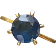 18K Solitary Blue Sapphire 1.75 Carats High Gallery Ring Size 5 1/4