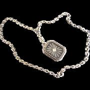 Art Deco 14K White Gold Filigree Rock Crystal Diamond Necklace