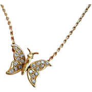Vintage Mechanic Diamond Butterfly 18K Yellow Gold Necklace