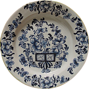 """18th Century Large Dutch Tin Glazed Chargers Blue and White Delft Floral 13 1/2"""""""