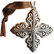 Reed and Barton 1978 Sterling Silver Cross Christmas Ornament Pendant