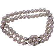 C1960s Double Strand Cultured Pearl Bracelet 14K White Gold