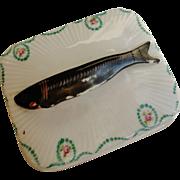 C1930s Austria Victoira Hand Painted Figural Sardine Fish Porcelain Box