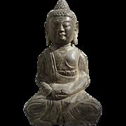 Antique Chinese Stone Sitting Buddha Statue