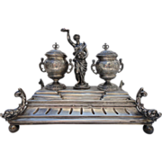 800 Silver Desk Top Stationary Inkwell with Roman Goddess Abundantia with a Cornucopia